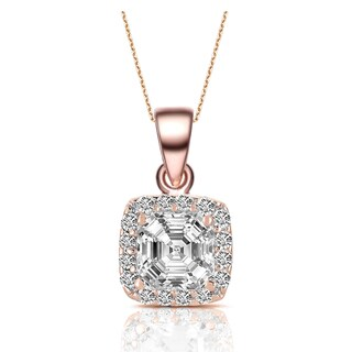 Collette Z Rose-plated Sterling Silver Cubic Zirconia Square Necklace