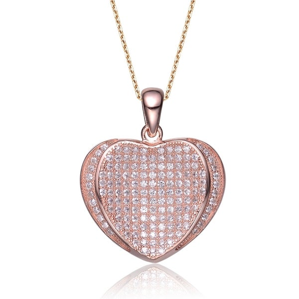 b88af2eb9 Collette Z Rose Goldplated Sterling Silver White Cubic Zirconia Heart-shape  Pave-set Necklace