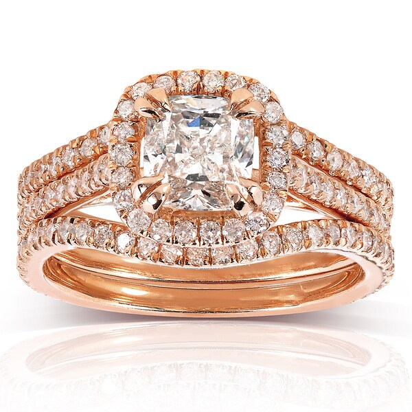 Annello by Kobelli 14k Rose Gold 1 3/4ct TDW Cushion-cut Diamond 3-piece Bridal Set