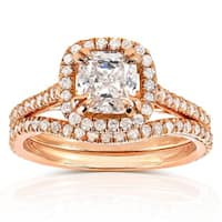 Annello by Kobelli 14k Rose Gold 1 1/2ct TDW Cushion-cut Diamond Bridal Set