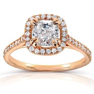 Annello 14k Rose Gold 1 1/3ct TDW Cushion-cut Diamond Halo Engagement Ring (H-I, I1-I2)