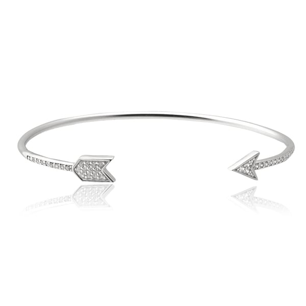 Journee Collection Sterling Silver Cubic Zirconia Arrow Cuff Bracelet