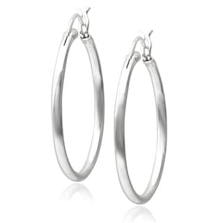 Journee Collection Sterling Silver Polished Hoop Earrings