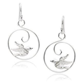 Journee Collection Sterling Silver Bird Dangle Earrings