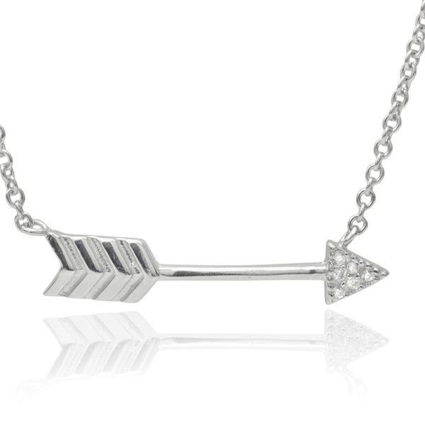 Journee Collection Sterling Silver Cubic Zirconia Arrow Pendant