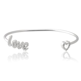 Journee Collection Sterling Silver Cubic Zirconia 'Love' Heart Cuff