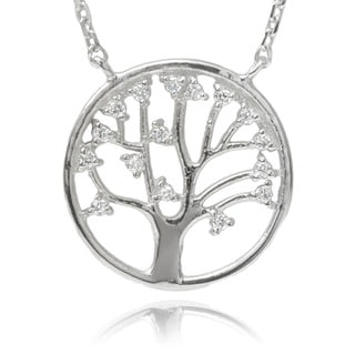 Journee Collection Sterling Silver Cubic Zirconia 'Tree of Life' Pendant