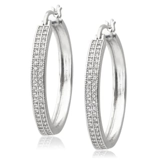 Journee Collection Silvertone Cubic Zirconia Hoop Earrings