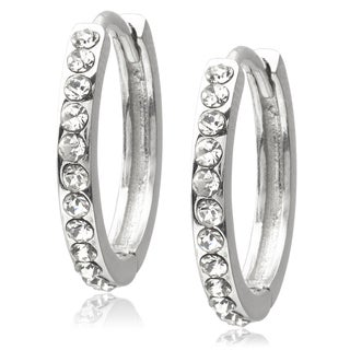 Journee Collection Silvertone Radiant Cubic Zirconia Hoop Earrings