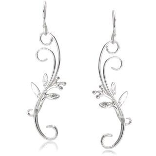 Journee Collection Sterling Silver Swirl Leaf Dangle Earrings