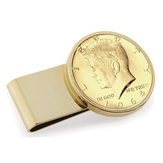 American Coin Treasures Goldplated JFK 1964 Half Dollar Stainless Steel Money Clip