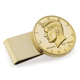 American Coin Treasures Goldplated JFK Half Dollar Stainless Steel Money Clip