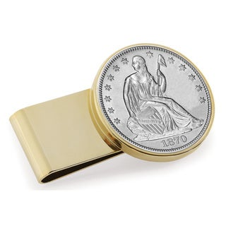 American Coin Treasures Silver Seated Liberty Half Dollar Goldtone Stainless Steel Money Clip