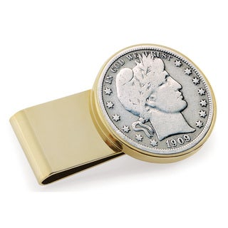 American Coin Treasures Silver Barber Half Dollar Goldtone Stainless Steel Money Clip