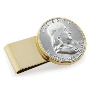 American Coin Treasures Silver Franklin Half Dollar Goldtone Stainless Steel Money Clip