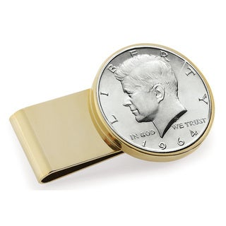 American Coin Treasures Goldtone Stainless Steel JFK 1964 First Year of Issue Half Dollar Money Clip