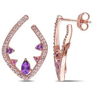 Miadora Rose Plated Silver Multi-gemstone Stud Earrings