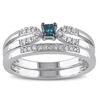 Miadora Sterling Silver 1/5ct TDW Blue Diamond Ring Set (H-I, I2-I3)