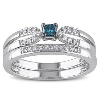 Miadora Sterling Silver 1/5ct TDW Blue Diamond Ring Set