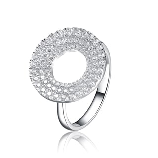 Collette Z Sterling Silver Micro Pave-set Cubic Zirconia Round Ring