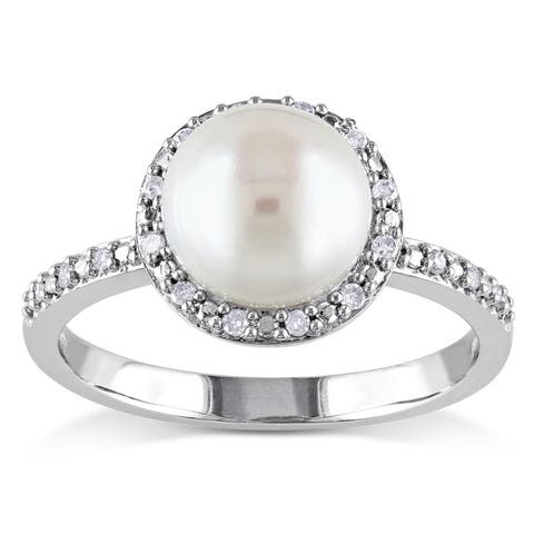 Miadora Silver White Pearl and 1/10ct TDW Diamond Halo Ring (8 - 8.5 mm) (H-I, I2-I3)