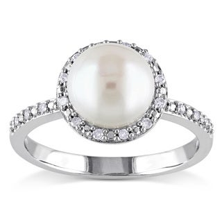 Miadora Silver White Pearl and 1/10ct TDW Diamond Ring (8-8.5 mm) (H-I, I2-I3)
