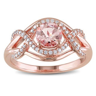 Miadora Rose Plated Silver Morganite and 1/5ct TDW Diamond Ring (H-I, I2-I3)