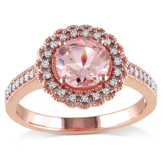 Miadora Rose Goldplated Silver Morganite and 1/6ct TDW Diamond Ring (H-I, I2-I3)