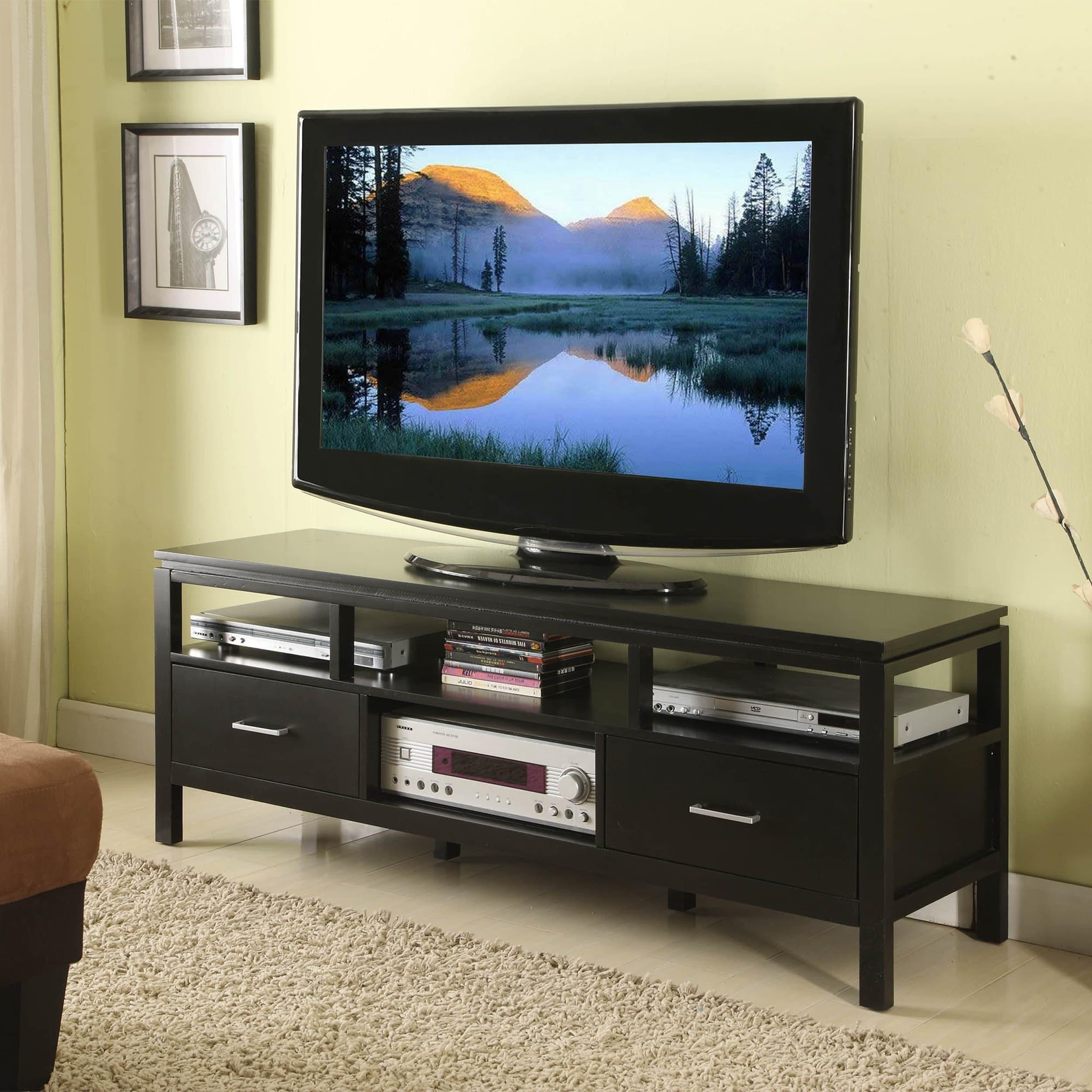 Linon Taylor Modern Plasma Tv Stand In Jet Black 753793802206 Ebay