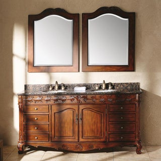 James Martin Furniture St. James 72-inch Cherry Double Vanity with Granite Top