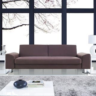 Corvus Gibson Brown Futon Sofa Bed with Stainless Steel Legs|https://ak1.ostkcdn.com/images/products/9360740/P16553046.jpg?impolicy=medium