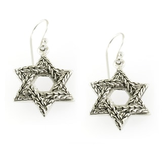 Handmade Textured Sterling Silver Star of David Dangle Earrings (Thailand)