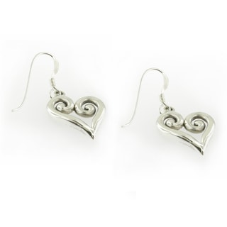Handmade Sterling Silver Outlined Heart Dangle Earrings (Thailand)