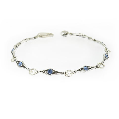 Handmade Textured Sterling Silver and Blue Cubic Zirconia Bracelet (Turkey)