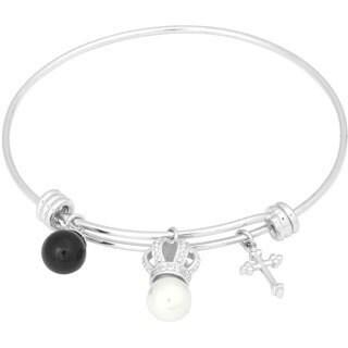La Preciosa Silvertone Cross, Onyx and Shell Pearl Crown Charm Bangle
