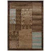 Linon Milan Collection Brown/ Aqua Area Rug (5' x 7'7) - 5' x 7'7