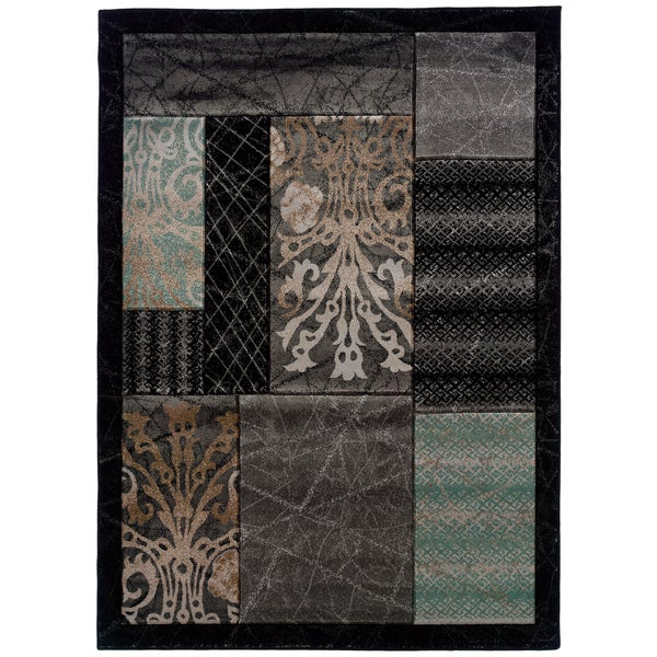 Linon Milan Abstract Black/ Aqua Area Rug (5' x 7'7)