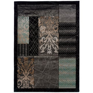 Linon Milan Abstract Black/ Aqua Area Rug (5' x 7'7)