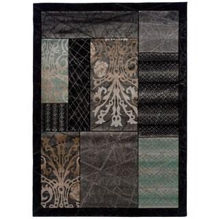 Linon Milan Abstract Black/ Aqua Area Rug - 5' x 7'7