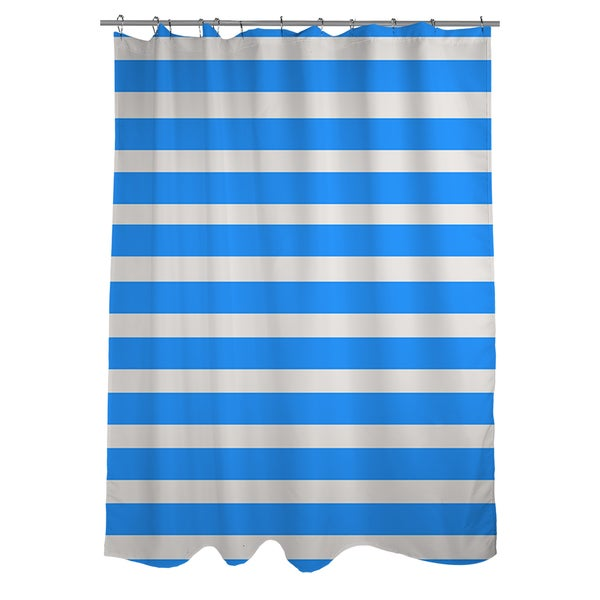 Bright Stripes Robin Egg Shower Curtain