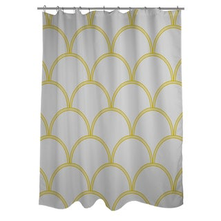 Art Deco Circles Grey and Yellow Shower Curtain