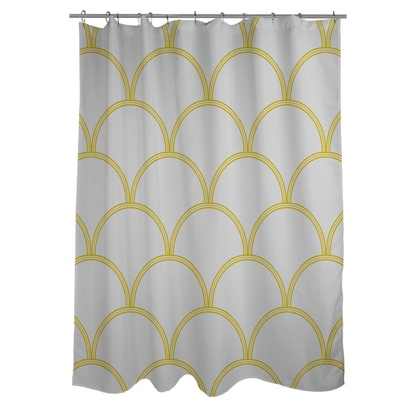 Art Deco Circles Grey and Yellow Shower Curtain - Free Shipping ...