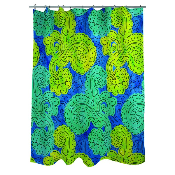 Funky Florals Paisley Royal Blue Shower Curtain