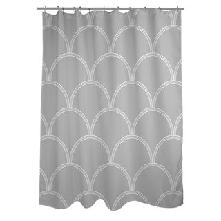 Art Deco Circles Grey and white Shower Curtain