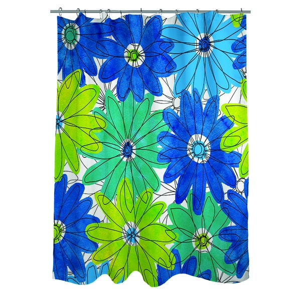 Funky Florals Daisy Royal Blue Shower Curtain