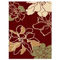 Linon Milan Collection Red/ Ivory Area Rug (1'10 x 2'10) - 1'10 x 2'10