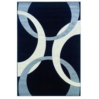 Linon Corfu Collection Black/ Grey Area Rug (1'10 x 2'10)