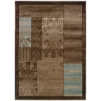 Linon Milan Collection Brown/ Aqua Area Rug - 1'10 x 2'10