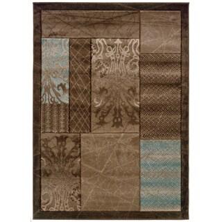 Linon Milan Collection Brown/ Aqua Area Rug (1'10 x 2'10)
