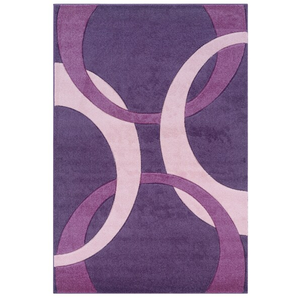 Linon Corfu Collection Purple/ Baby Pink Area Rug (1'10 x 2'10) - 1'10 x 2'10